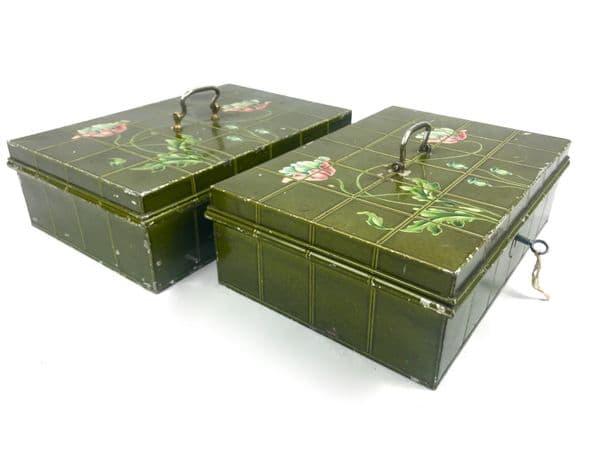 Vintage Metal Storage Tins / Deed Box / Cash Boxes / Art Nouveau Flower Design